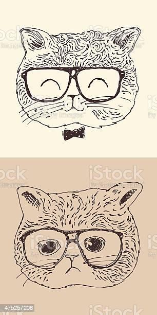 Cute cat kitten in glasses hipster style engraved illustration vector id475257206?b=1&k=6&m=475257206&s=612x612&h=diegbomjbzbduqufa0 br5zea2gpu8repmzmtwfnuq8=