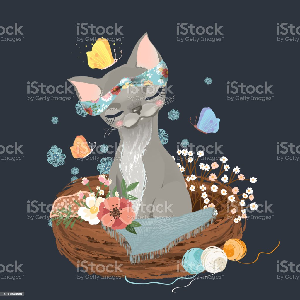 Cute cat, kitten, kitty sitting in a rustic basket with butterflies and flowers, floral wreath, bouquet vector art illustration
