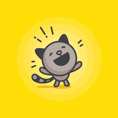 cute cat logo on a yellow background