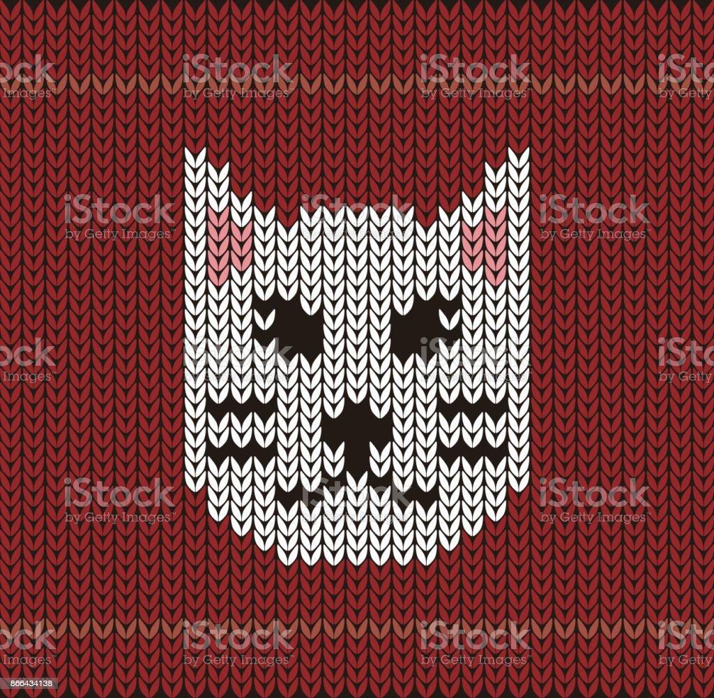 Cute Cat On The Knitting Pattern Happy New Year Vector Illustration ...