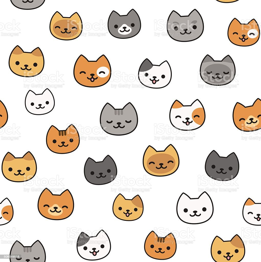 Cute Cat Pattern stock vector art 506549516 | iStock