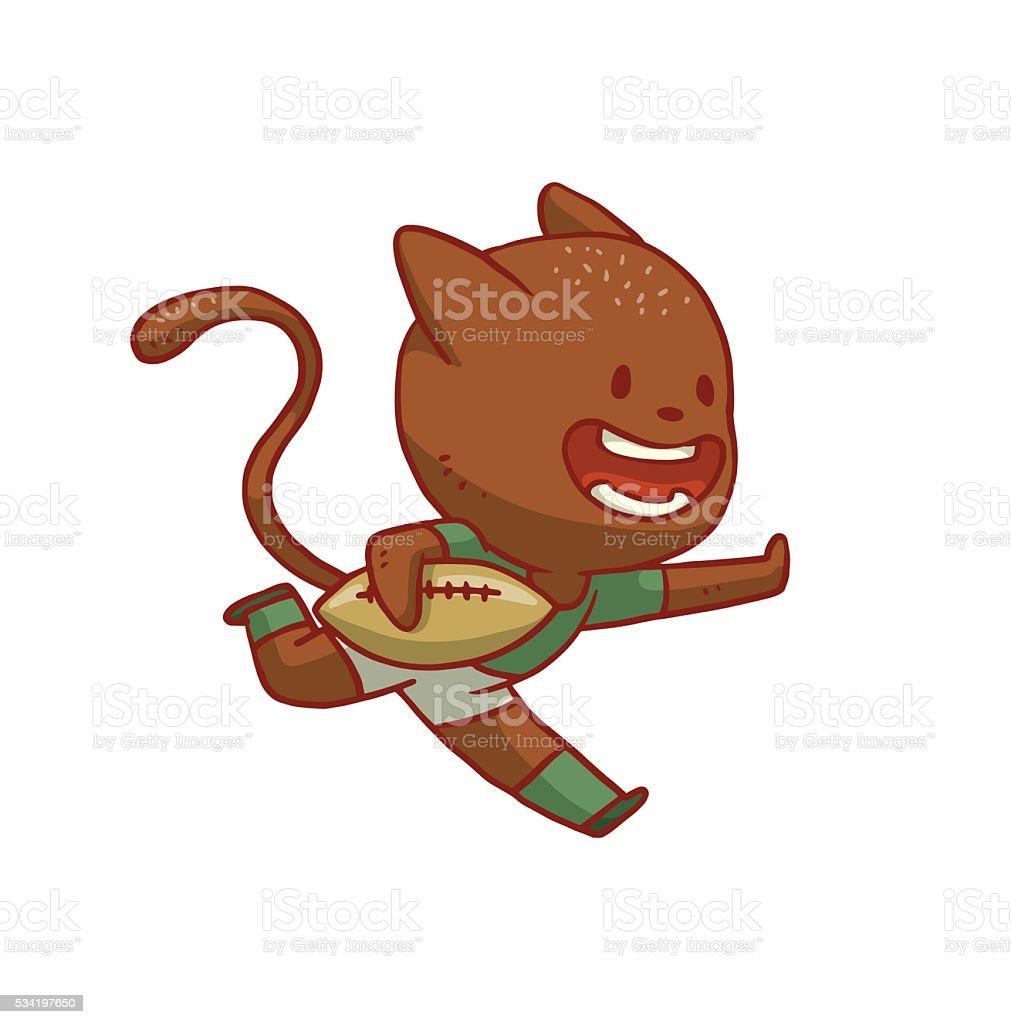 かわいい猫がラグビー イラストレーションのベクターアート素材や画像