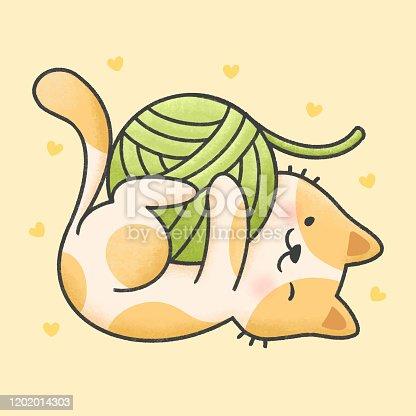 istock Cute cat playing with yarn cartoon hand drawn style 1202014303