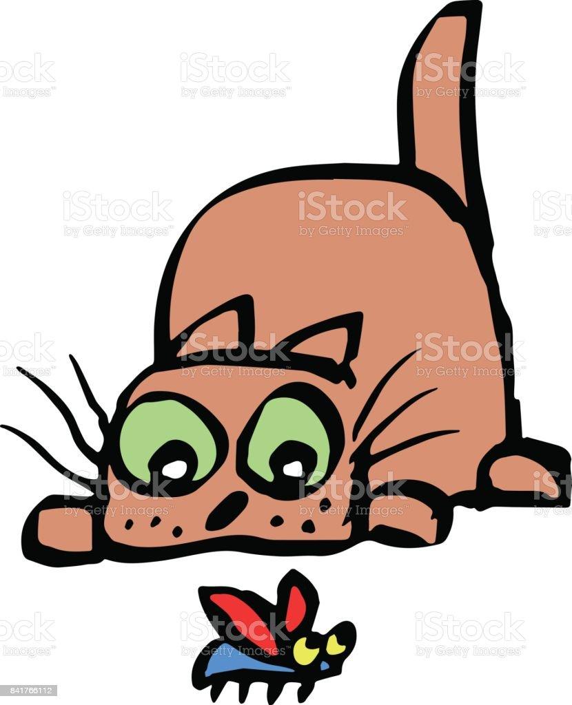 かわいい猫はビートルを捕食しますベクトル イラスト アイコンの