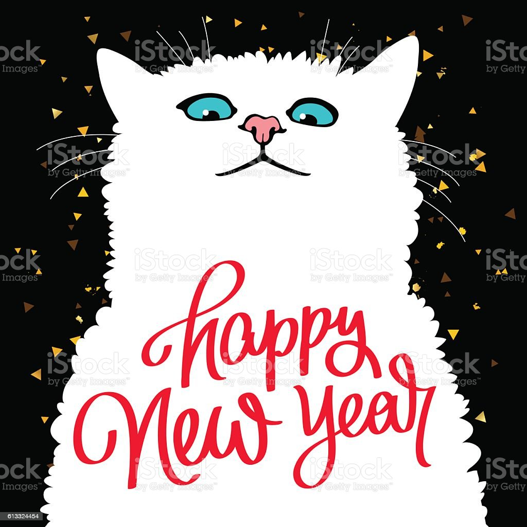 Cute Cat Quote Happy New Year Stock Vector Art & More Images of ...