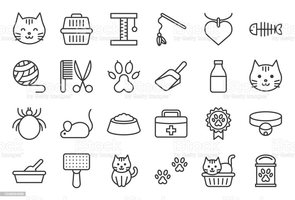 cute cat related icon such as cat litter box and toy outline