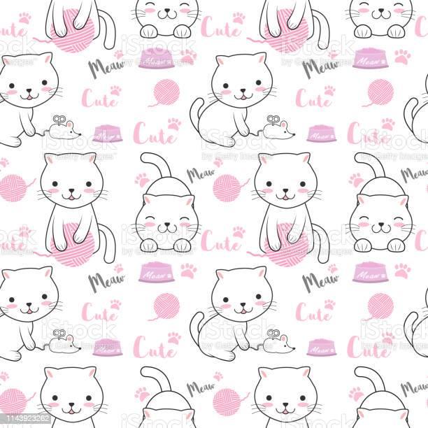 Cute cat seamless pattern cartoon illustration background vector id1143923262?b=1&k=6&m=1143923262&s=612x612&h=5 5jswq0vrkj7dt gpe3he4ng3oos5pev 2fdz63xa0=
