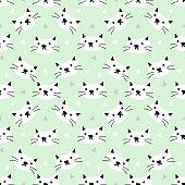 Cute cat seamless pattern