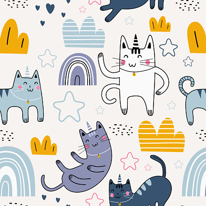 Cute cat seamless pattern with cute character. Funny animal cat with star, rainbow, clouds, love and plant. Vector image isolated on a white background. Print textile for children