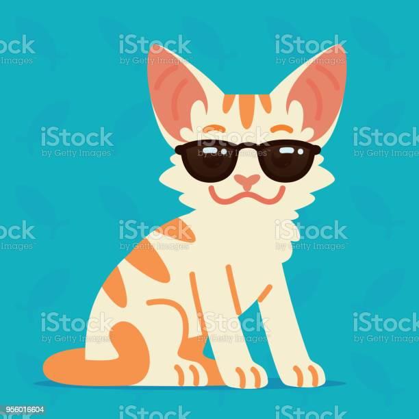 Cute cat sitting vector illustration of cool kitty in sunglasses on vector id956016604?b=1&k=6&m=956016604&s=612x612&h=uzcyucouvibocoyhvlise9yzejzsnhzop9ja8npswiy=