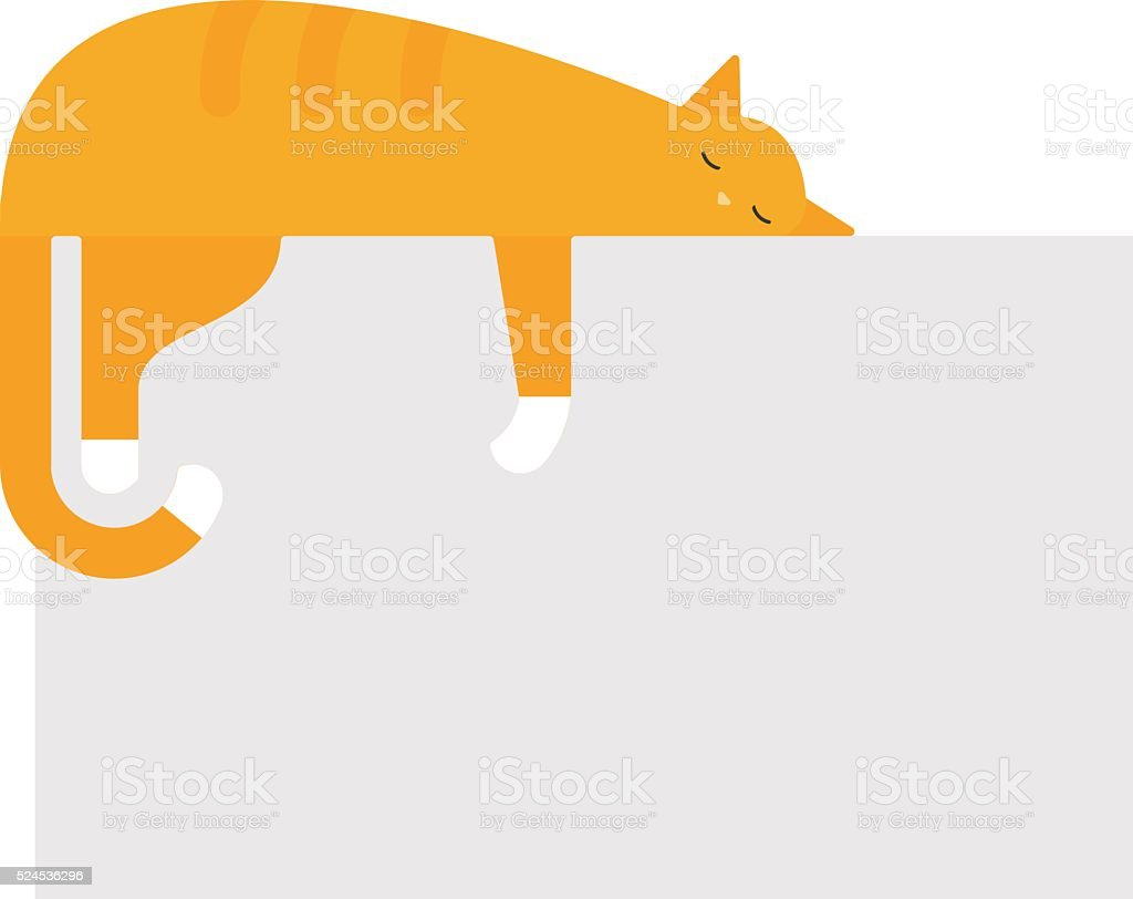Cute cat sleeping on platform house feline domestic young adorable vector art illustration