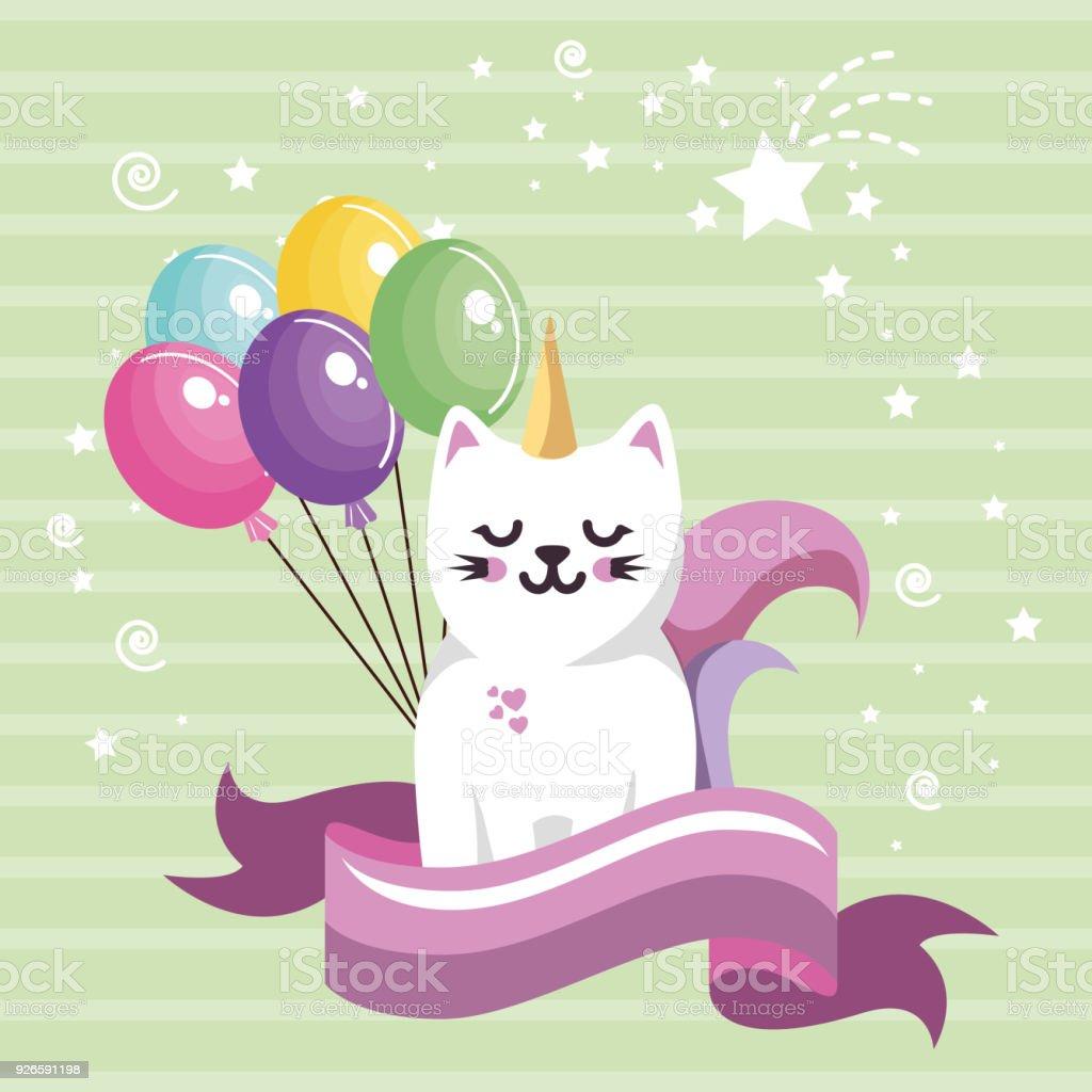 lindo gato dulces kawaii con globos de aire tarjeta de cumpleaños  ilustración de lindo gato dulces 6c60cdb01b0