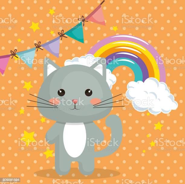 Cute cat sweet kawaii with rainbow birthday card vector id926591594?b=1&k=6&m=926591594&s=612x612&h=hnhbjdjehzrlawk1zjc e4qaxe0jojs9ydi3qjszkto=