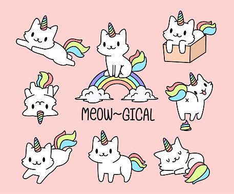 Cute cat unicorn set