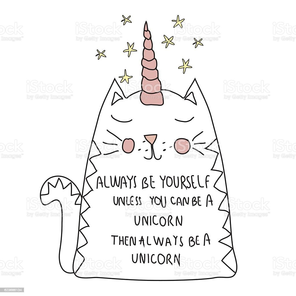 cute cat unicorn, with motif  for T shirt,  postcard vector art illustration