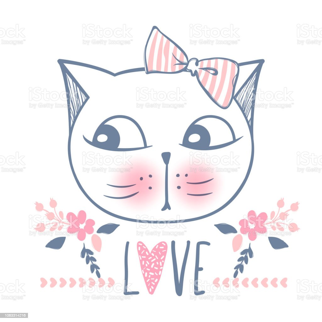 Cute Cat Vector Design Girly Kittens Fashion Cats Face Stock