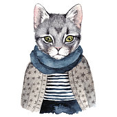 Cute cat . Watercolor hand drawn illustration