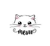 Cute cat vector print design. Meow lettering text. Kitten face vector background. Funny and cool smiling cartoon character. Love baby illustration