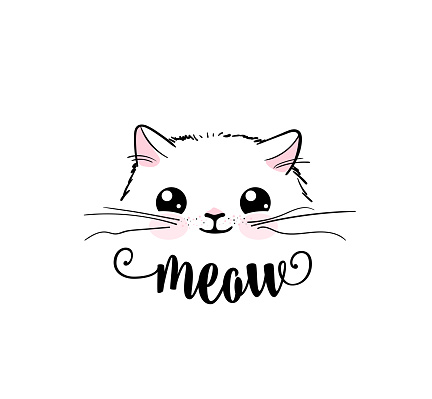 Cute Cat Vector Print Design Meow Lettering Text Kitten ...