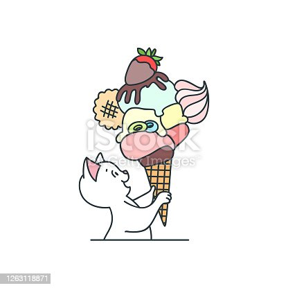 Cute cat with an ice cream