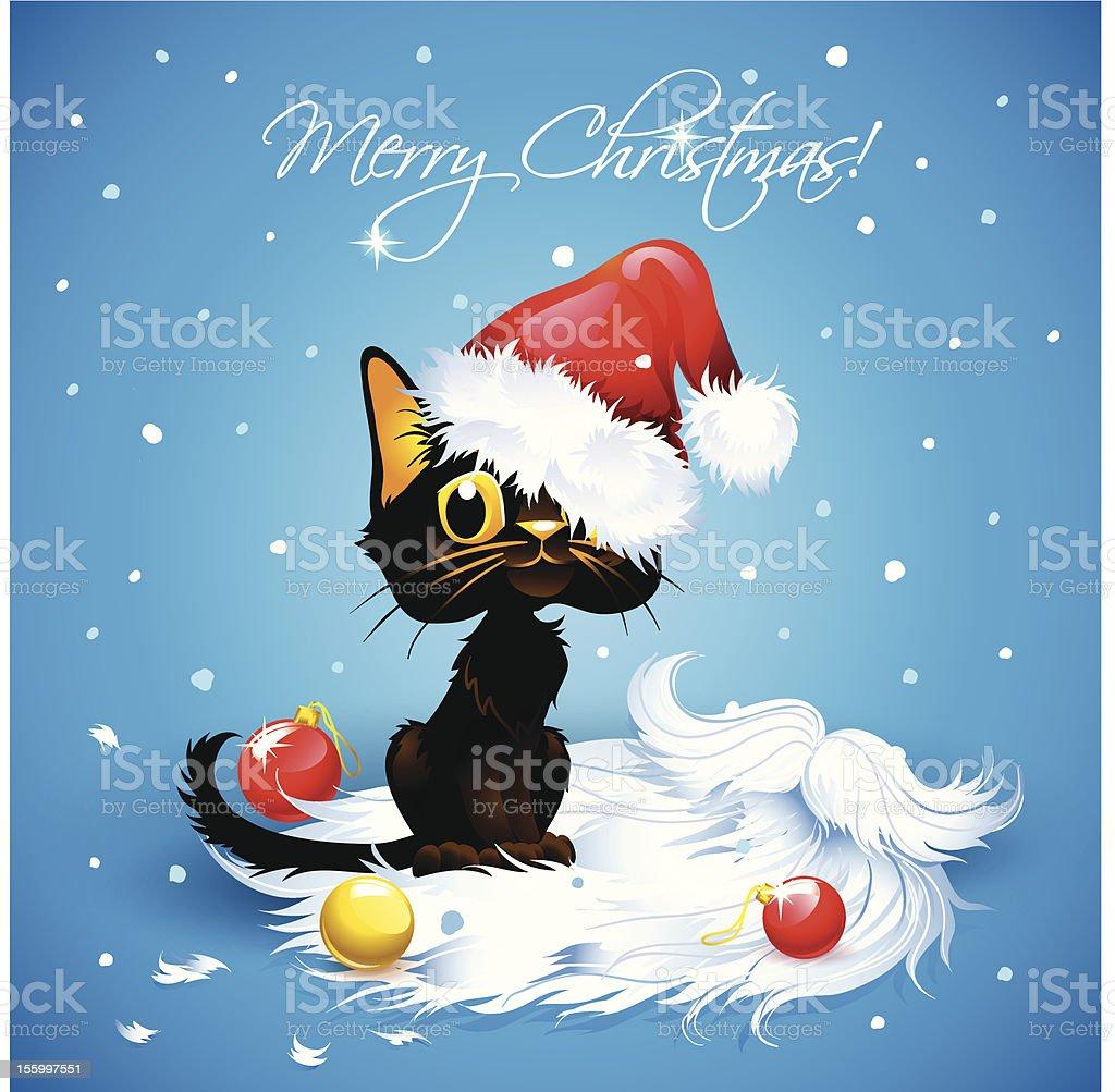 Carino Gatto Con Barba E Un Cappello Di Babbo Natale Immagini