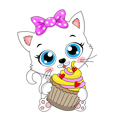 Cute cat with cupcake in hands. Isolated vector