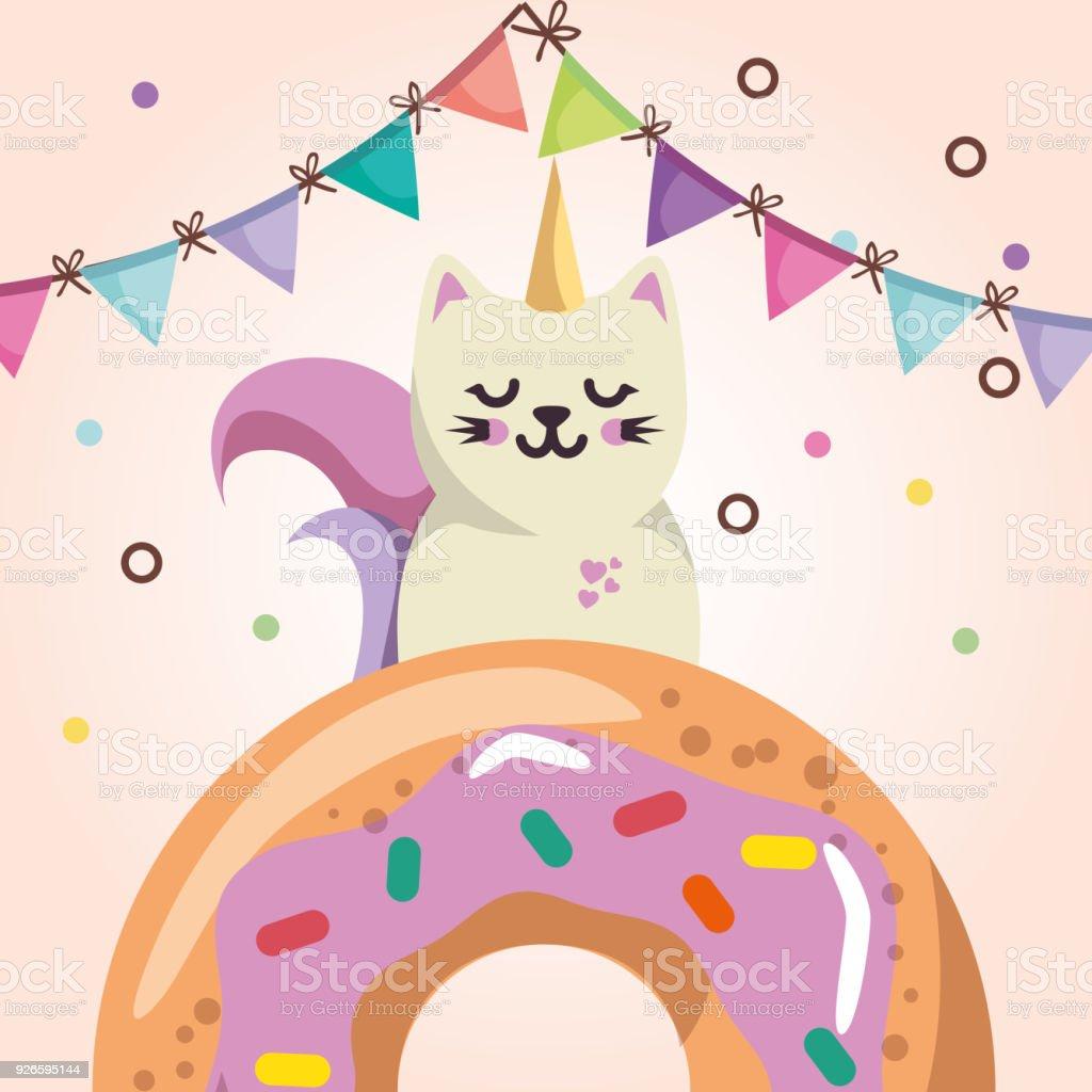 Ilustracion De Lindo Gato Con Tarjeta De Cumpleanos De Donut Kawaii