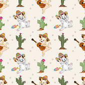 Cute cat with Mexican hat pattern. Cinco de mayo concept.