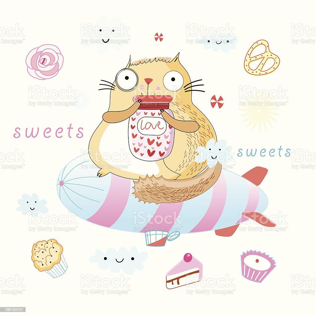 かわいい猫スイーツ いたずら書きのベクターアート素材や画像を多数ご