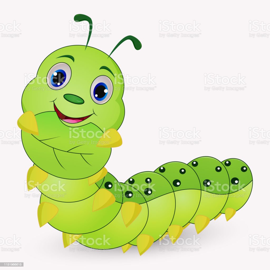 Cute Caterpillar Cartoon Holding Leaves Stock Illustration