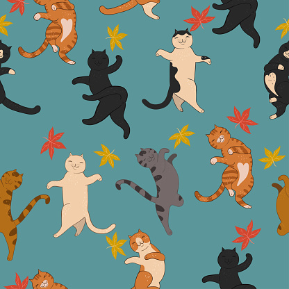 Cute cats and autumn leaves seamless pattern.