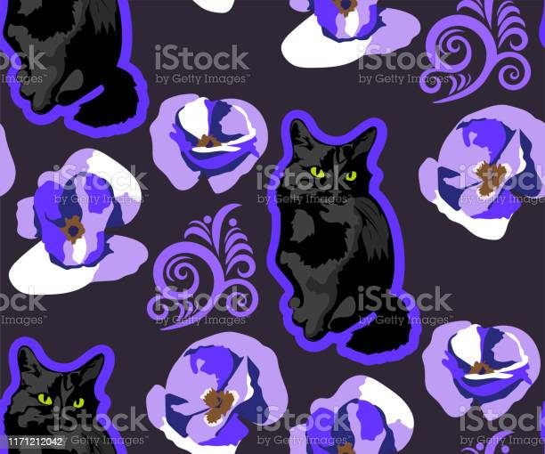 Cute cats and flowers seamless pattern pet vector illustration cat vector id1171212042?b=1&k=6&m=1171212042&s=612x612&h=ekkwqd0pe8mezse mvby16zzbvkbxichg6xry6ckoje=