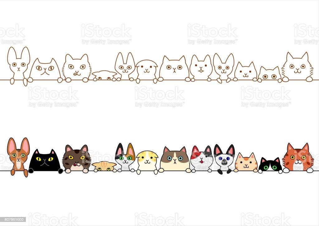 cute cats border set vector art illustration