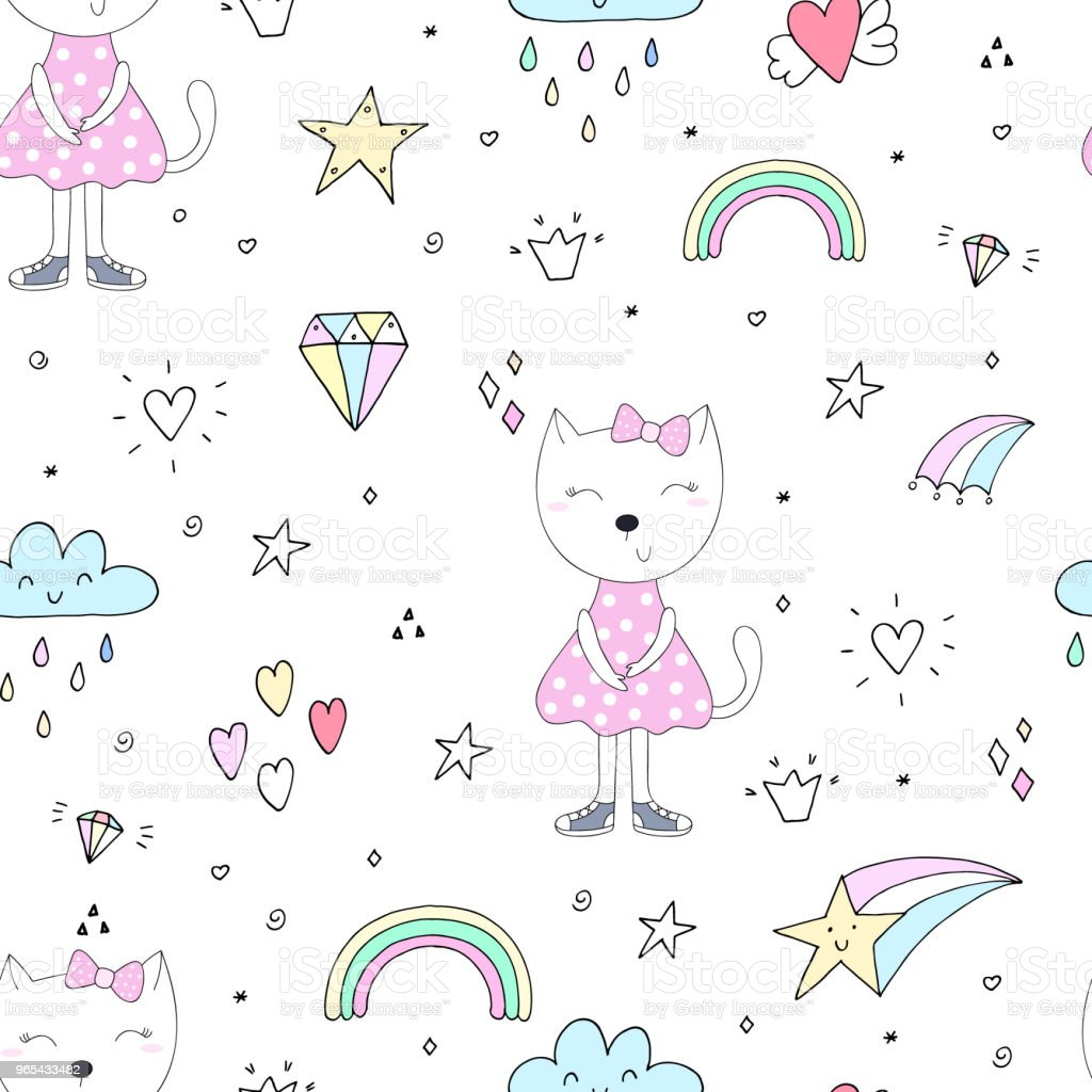 Cute cats colorful seamless pattern background royalty-free cute cats colorful seamless pattern background stock vector art & more images of animal