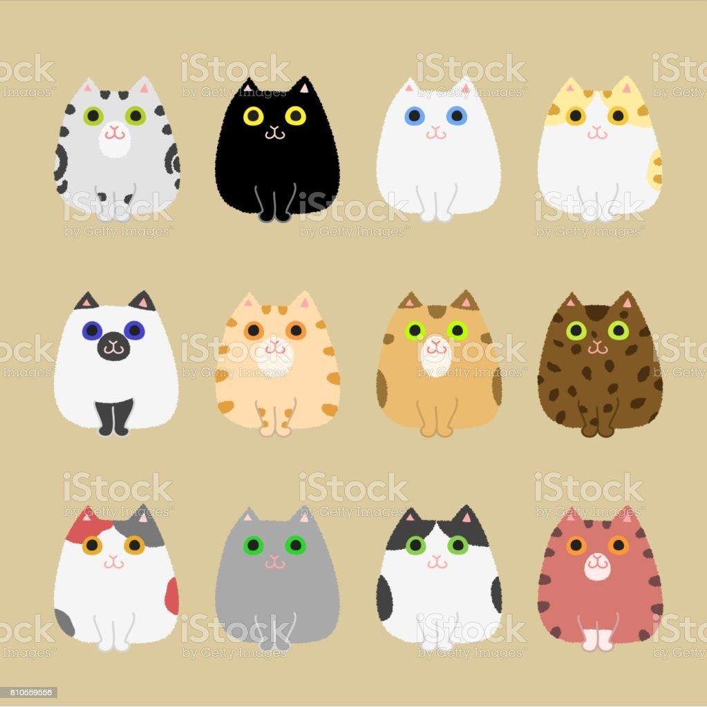 バリエーションを着色かわいい猫 ベクターアートイラスト
