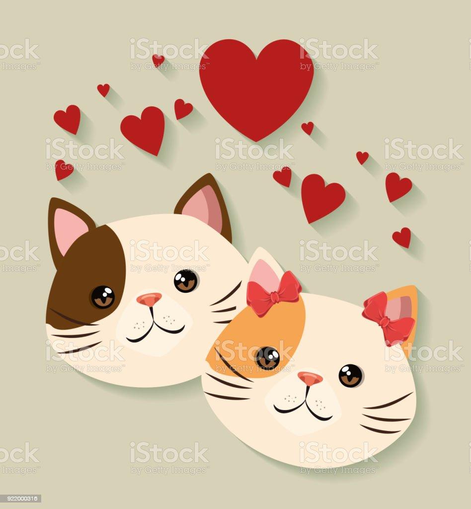 かわいい猫カップル ペット フレンドリー - イラストレーションの