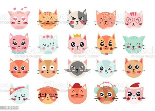 Cute cats faces cat heads emoticons kitten face expressions happy vector id1188162454?b=1&k=6&m=1188162454&s=612x612&h=qjqmnpdaibe2ycgmvsg0urb2h3kys1agoi grjmj l0=