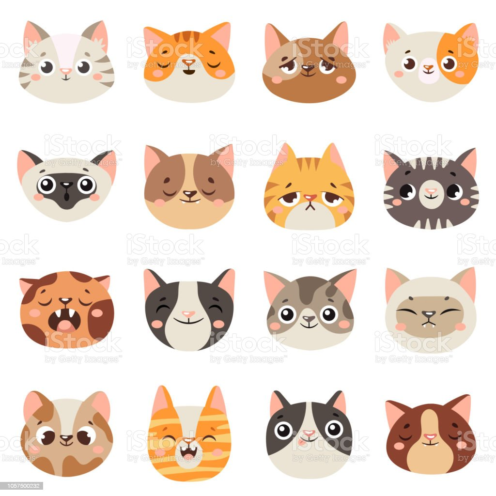 Ilustración De Caras De Gatos Lindos Animales Felices Gracioso