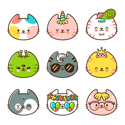 Cute cats faces set collection. Vector flat