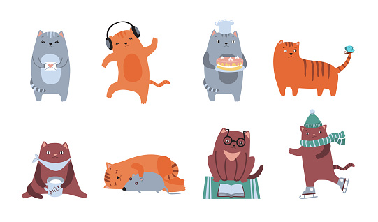 Cute cats flat icon kit