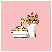 Domestic Cat, Illustration, Playful, Playing