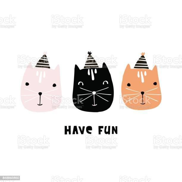 Cute cats illustration with party hats hand drawn creative kids print vector id848865850?b=1&k=6&m=848865850&s=612x612&h=tkewftppgwvvmop0vcgqvjvy 6qq9ymov6l0sgejr4u=