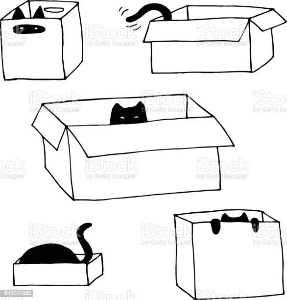 Cute cats in boxes vector hand drawn illustration set vector id843001930?b=1&k=6&m=843001930&s=612x612&h=godawoktbfdpq73exliavexbyvtakb8qvqsk swwkua=