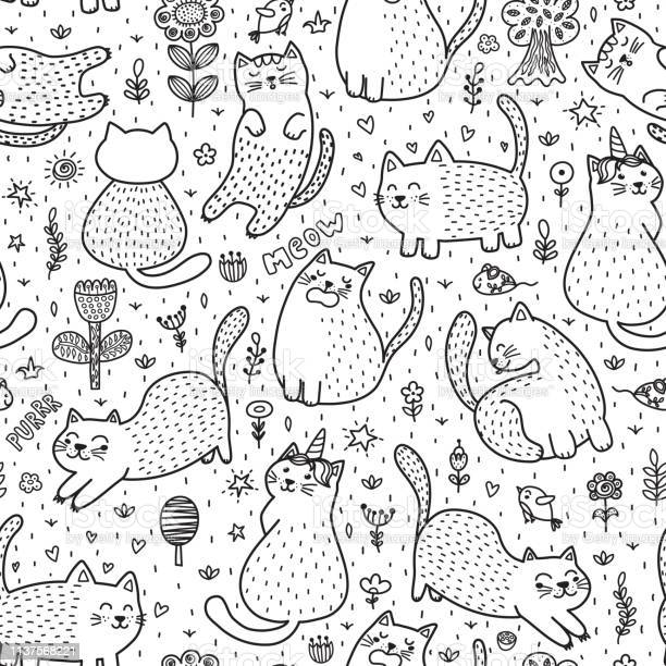 Cute cats in the summer seamless pattern black and white doodle vector id1137568221?b=1&k=6&m=1137568221&s=612x612&h=rbl nt2jktfvzpgeqiffrdr16gssiwkrcyefvspvfxs=