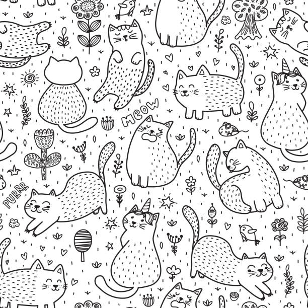 cute cats in the summer seamless pattern. black and white doodle background - unicorn line drawings stock illustrations, clip art, cartoons, & icons