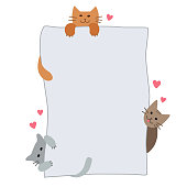 istock Cute cats paws are holding a blank sheet for your text. Cats with paper, a board for announcements and inscriptions for pet shop, cats food. Flat illustration isolated on a white background. Vector. 1301533996