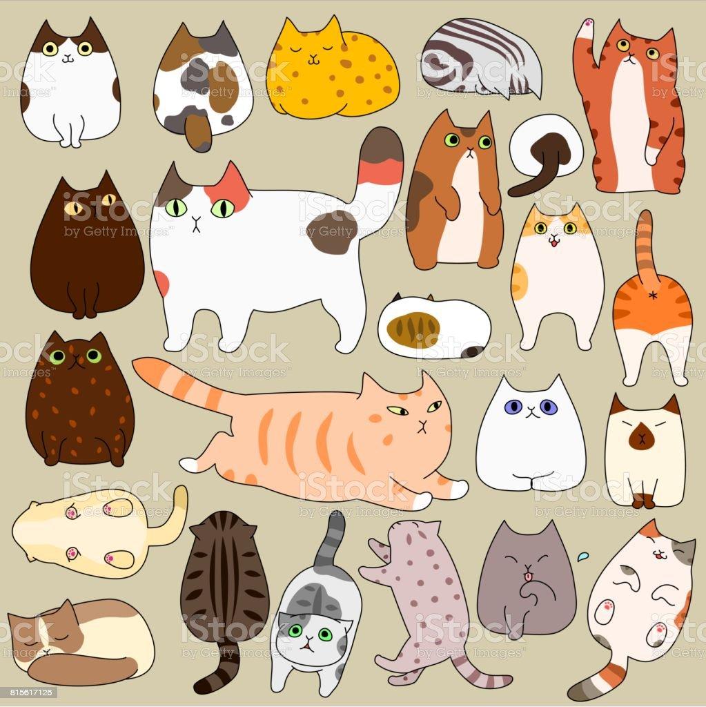 cute cats posing doodle set vector art illustration