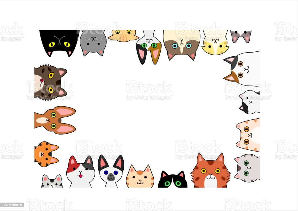 cute cats rectangle frame stock vector art amp more images