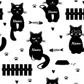 Cute cats seamless pattern. Black and white. Cats, fence, feed, and hearts Vector illustration