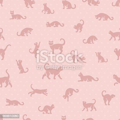 istock Cute cats seamless pattern 959910080